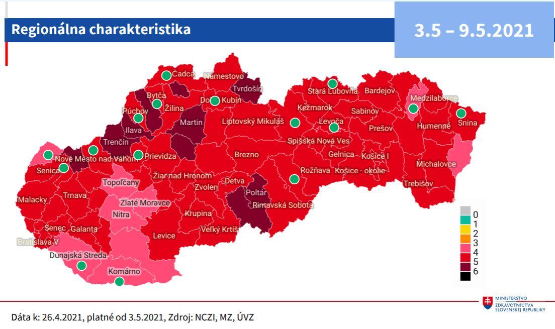 Rozdelenie okresov podľa COVID automatu účinné od 3. mája