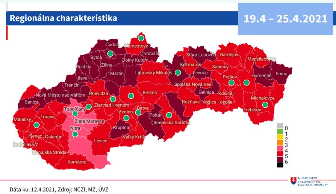 Grafické znázornenie rizikovosti okresov - stav k12. 4.2021