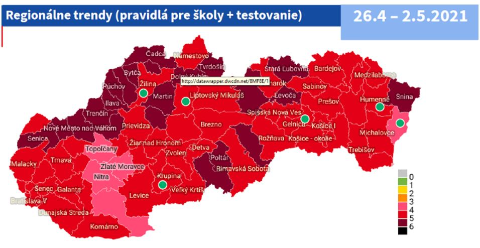Rozdelenie okresov podľa COVID automatu účinné od 26. apríla