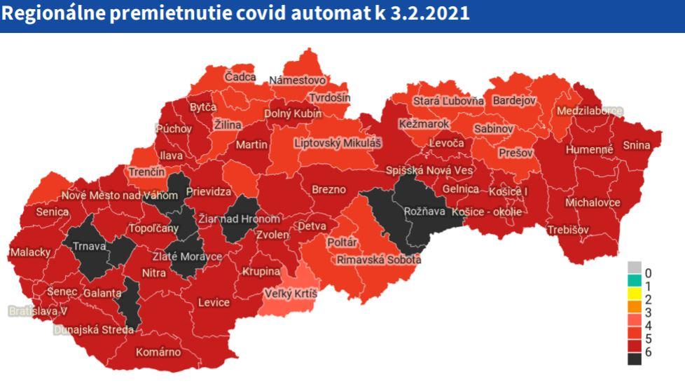 Grafické znázornenie rizikovosti okresov - stav k 3. 2. 2021