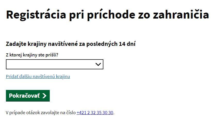 Hlavná stránka aplikácie e Hranica - kliknite pri vstup